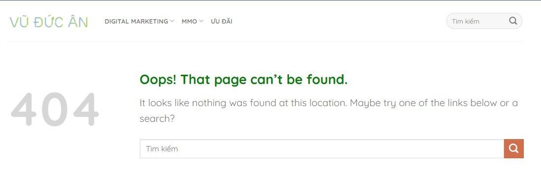Các thuật ngữ trong SEO – lỗi 404