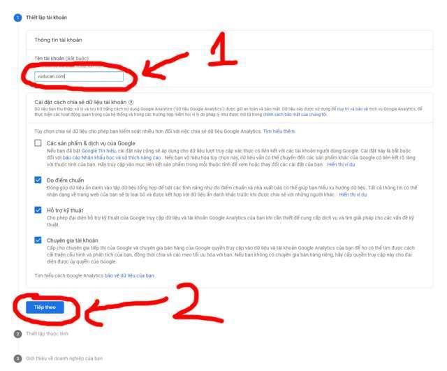 GG Analytics là gì - tạo tên tài khoản