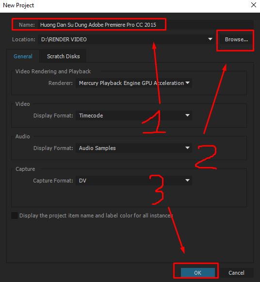 Cách cắt ghép video trên Premiere - đặt tên cho project